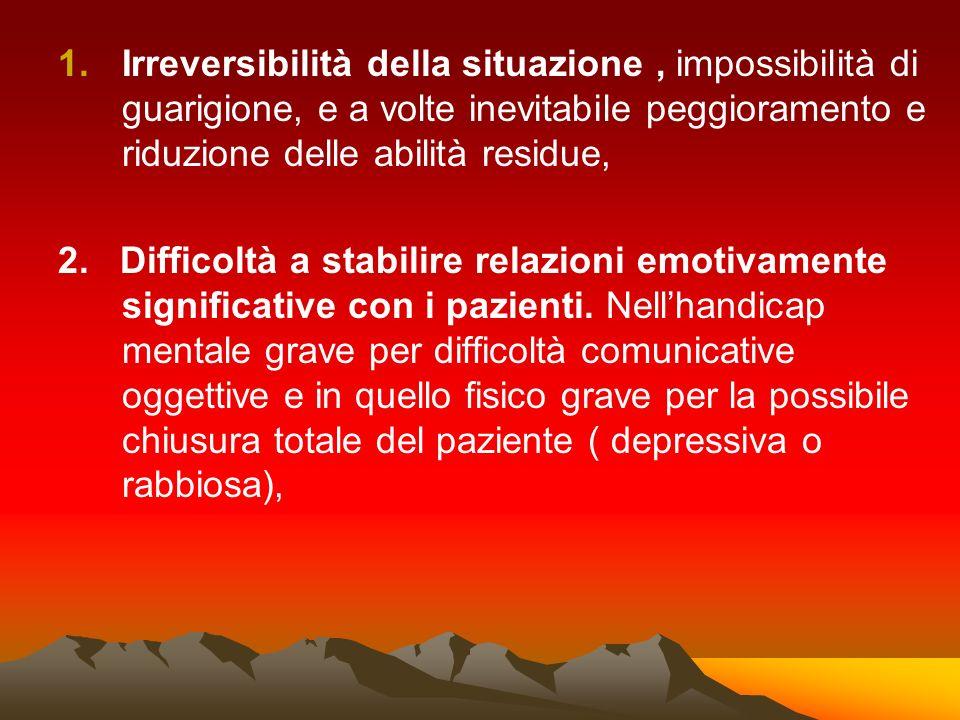 Irreversibilità della situazione , impossibilità di guarigione, e a volte inevitabile peggioramento e riduzione delle abilità residue,