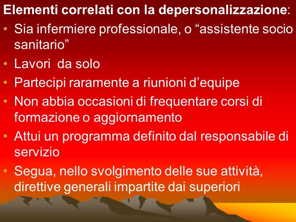 Elementi correlati con la depersonalizzazione: