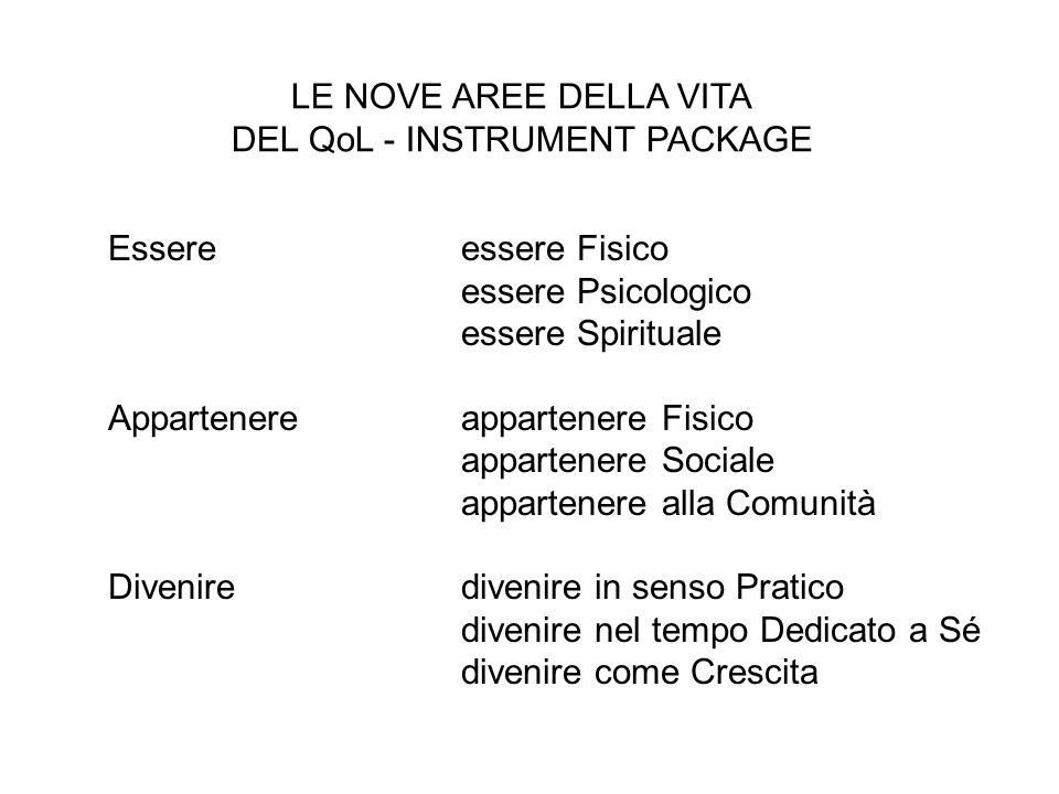 DEL QoL - INSTRUMENT PACKAGE