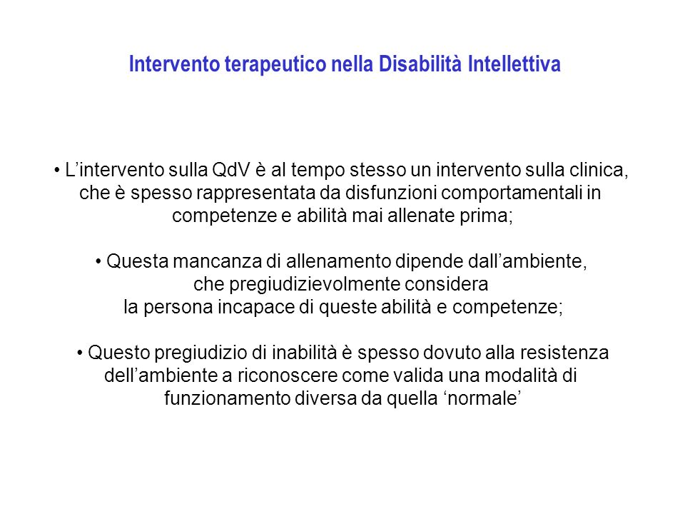 Intervento terapeutico nella Disabilità Intellettiva