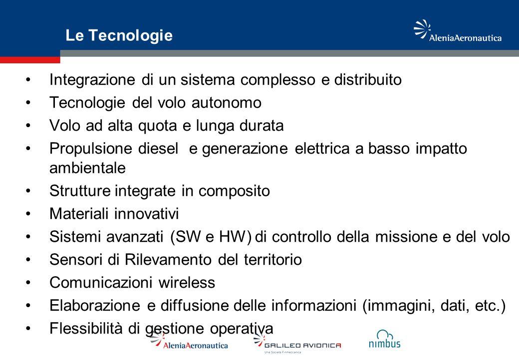 Le Tecnologie Integrazione di un sistema complesso e distribuito. Tecnologie del volo autonomo. Volo ad alta quota e lunga durata.