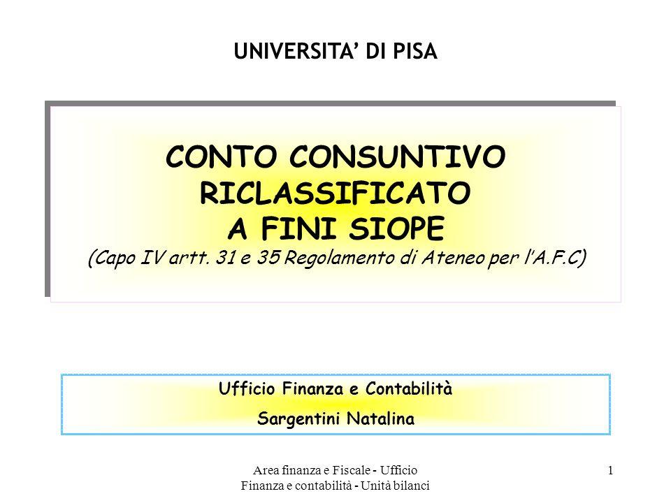 CONTO CONSUNTIVO RICLASSIFICATO Ufficio Finanza e Contabilità