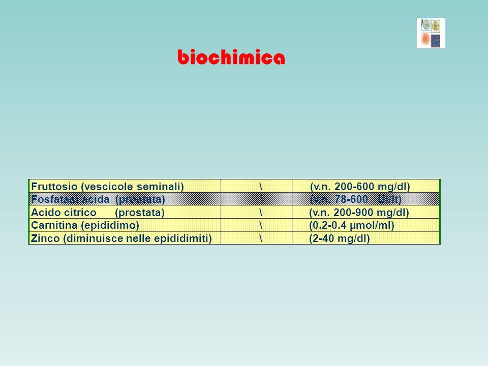 biochimica Fruttosio (vescicole seminali) \ (v.n. 200-600 mg/dl)