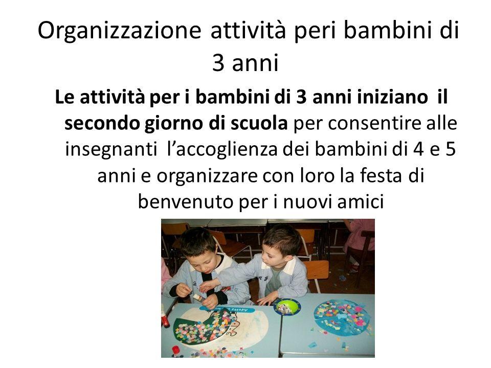 Organizzazione attività peri bambini di 3 anni