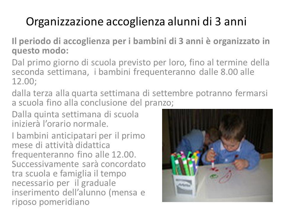 Organizzazione accoglienza alunni di 3 anni