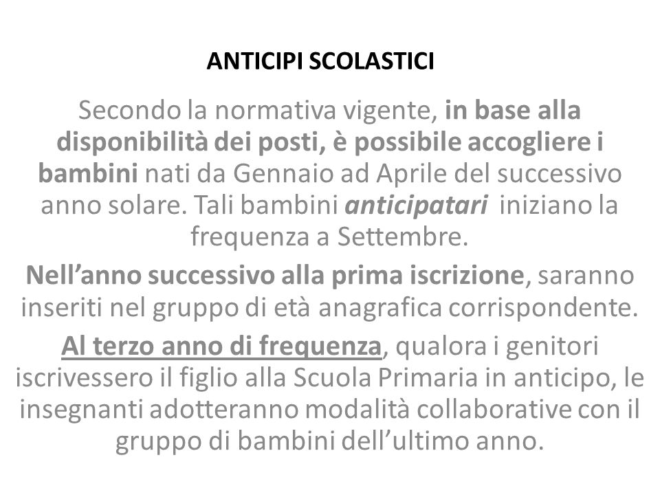 ANTICIPI SCOLASTICI