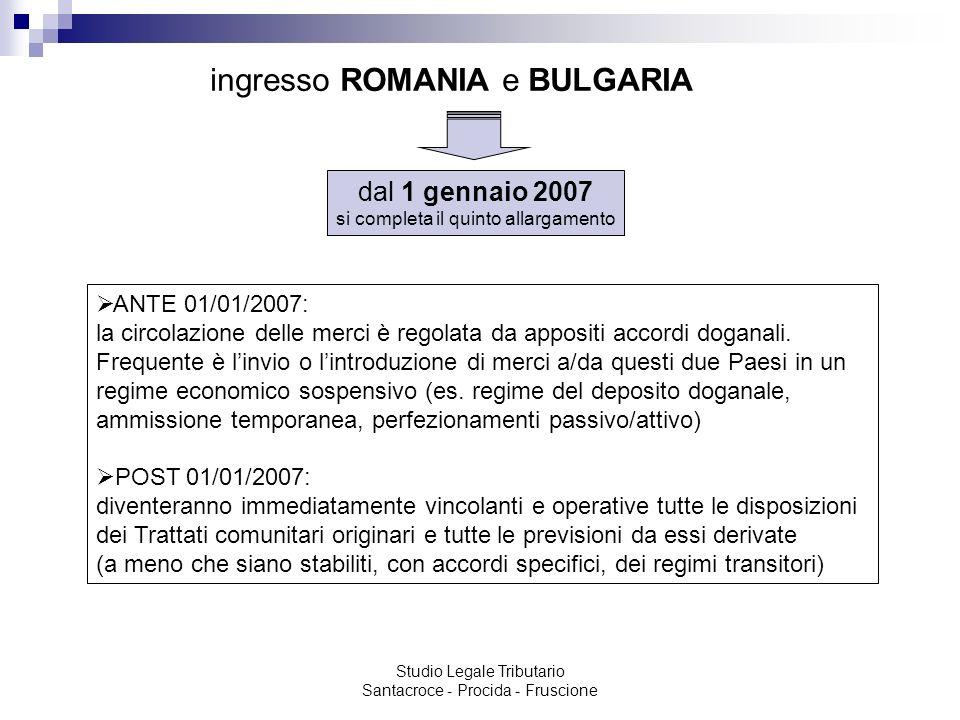 ingresso ROMANIA e BULGARIA
