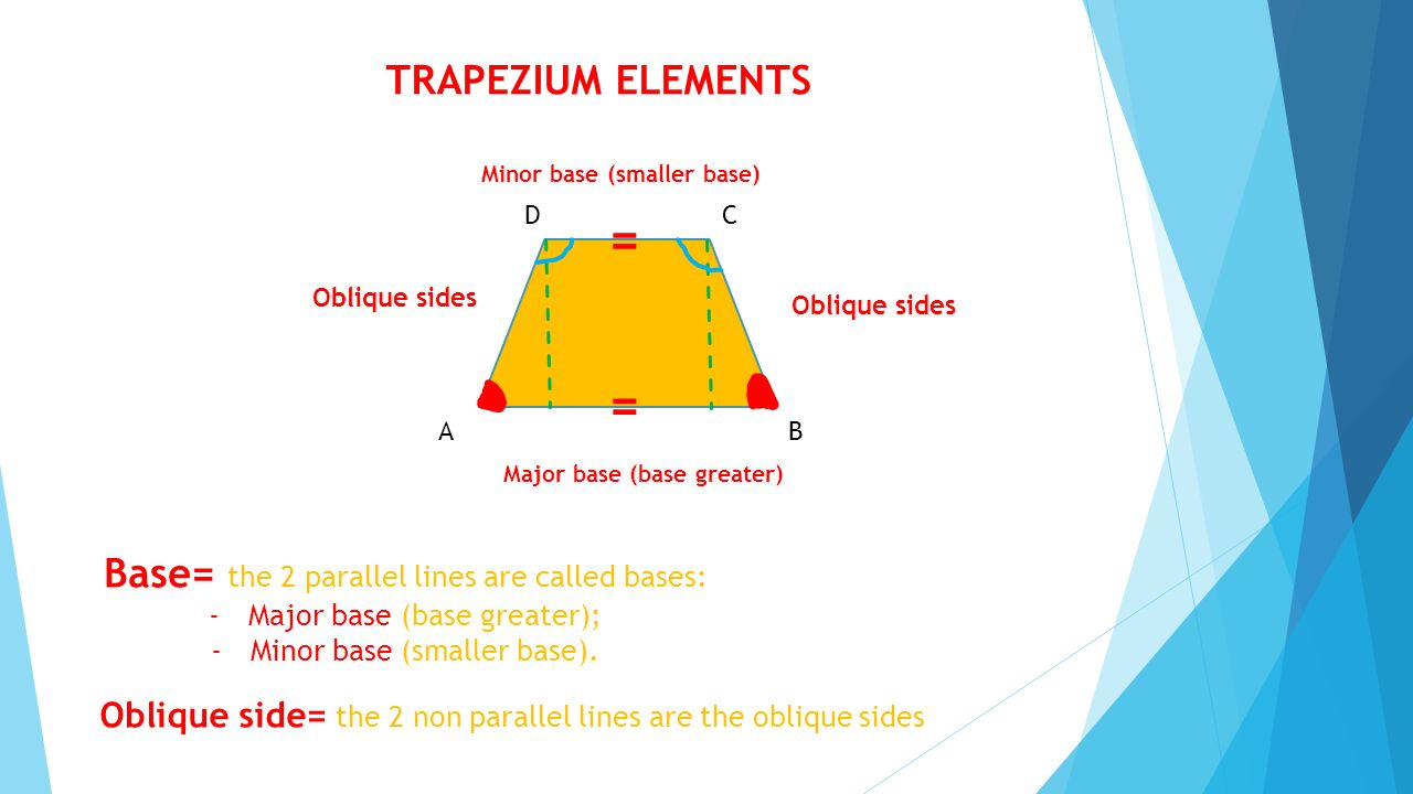 = TRAPEZIUM ELEMENTS Base= the 2 parallel lines are called bases: