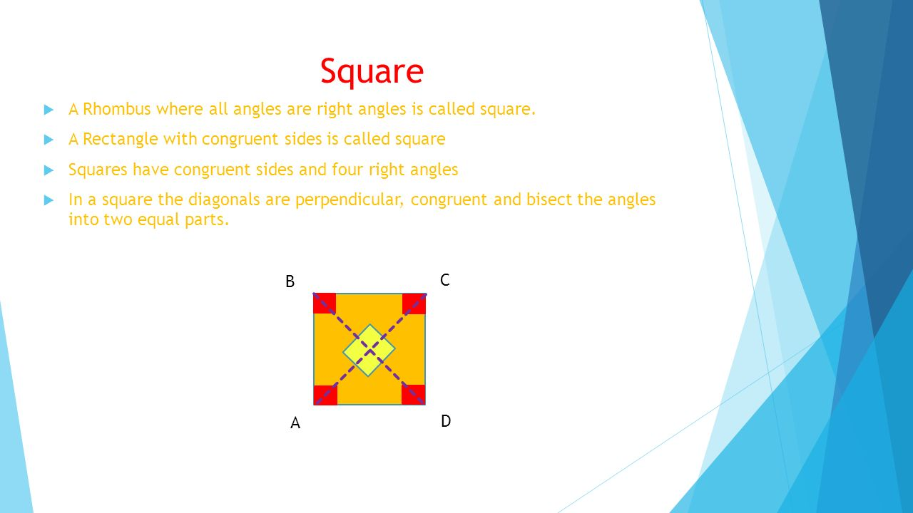 Square A Rhombus where all angles are right angles is called square.
