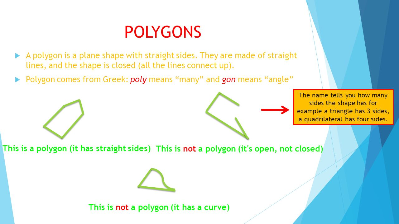 POLYGONS A polygon is a plane shape with straight sides. They are made of straight lines, and the shape is closed (all the lines connect up).