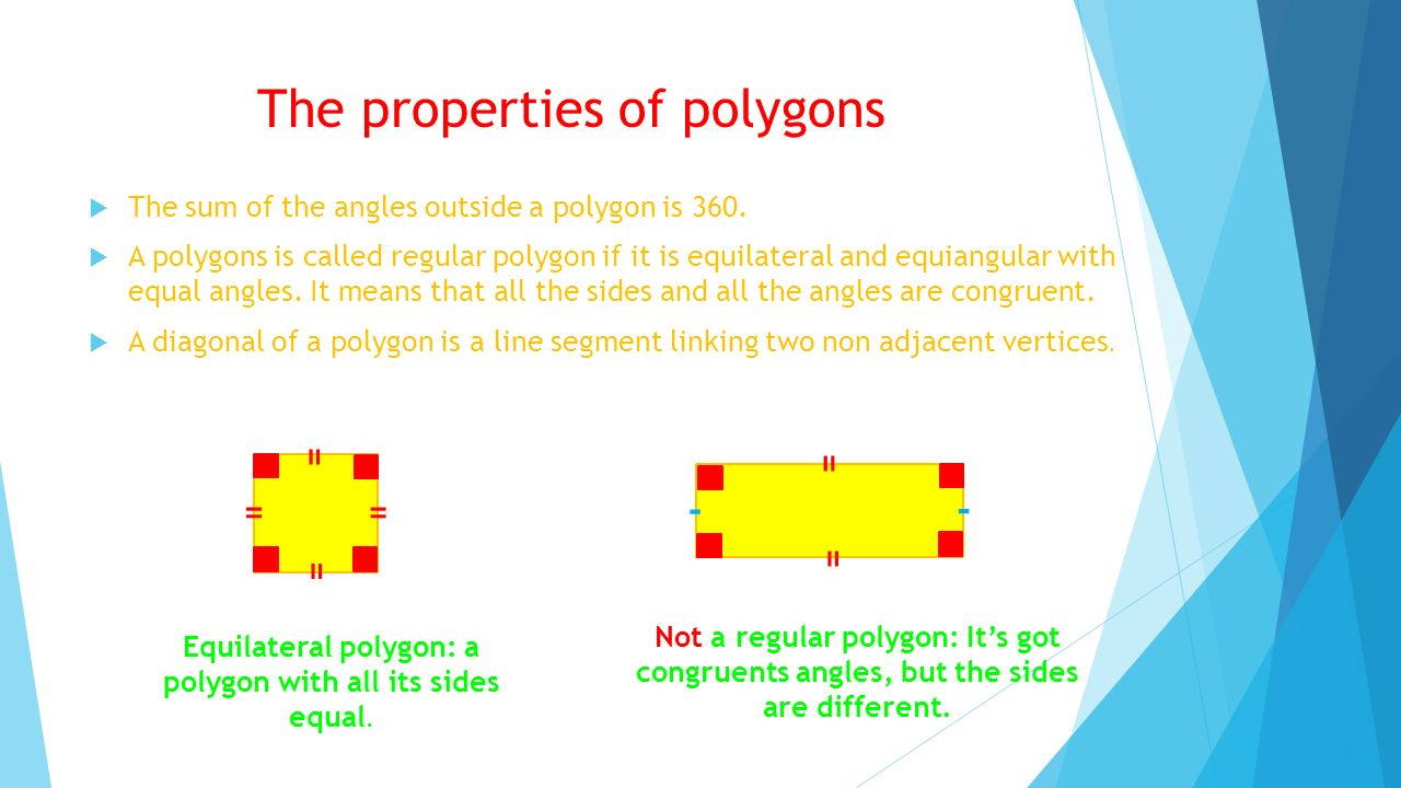 The properties of polygons