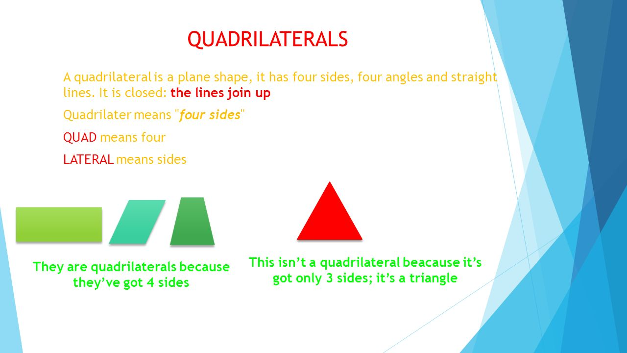 They are quadrilaterals because they've got 4 sides