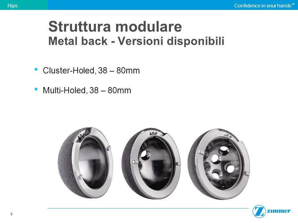 Struttura modulare Metal back - Versioni disponibili