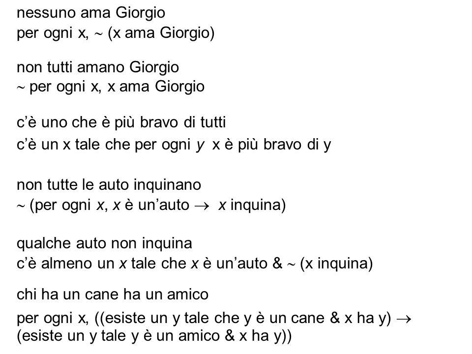nessuno ama Giorgio per ogni x,  (x ama Giorgio) non tutti amano Giorgio.  per ogni x, x ama Giorgio.