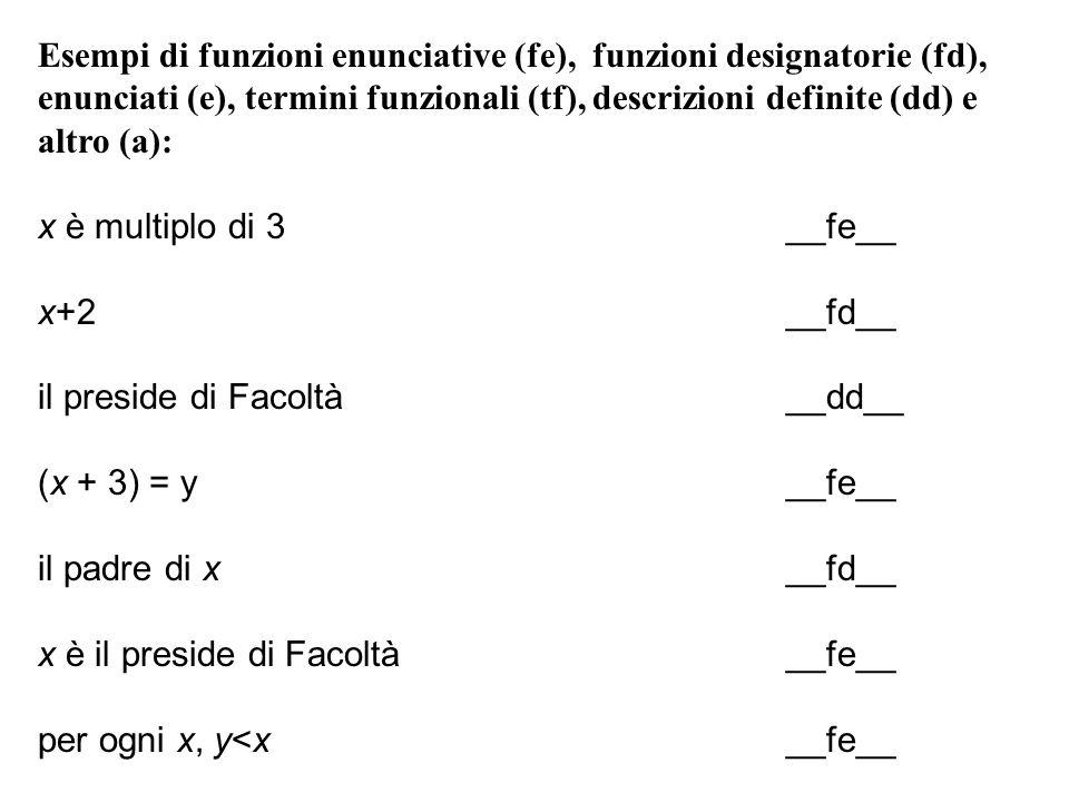 Esempi di funzioni enunciative (fe), funzioni designatorie (fd),