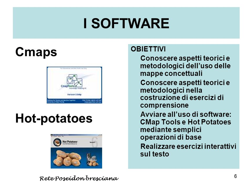 I SOFTWARE Cmaps Hot-potatoes OBIETTIVI