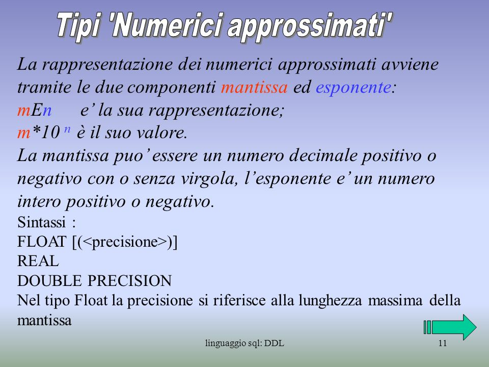 Tipi Numerici approssimati