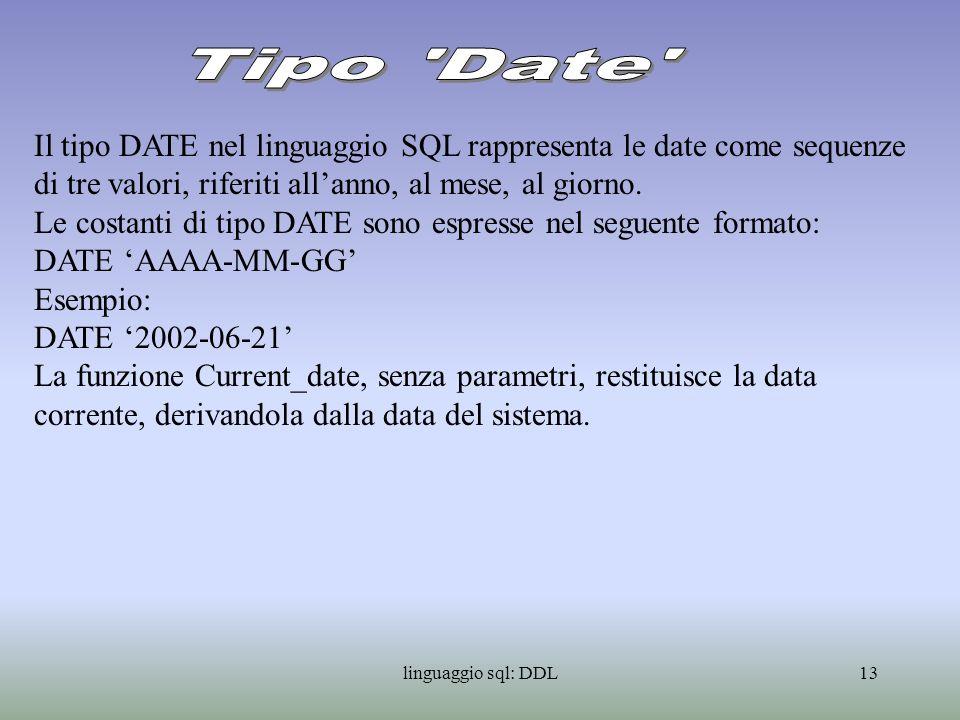 Tipo Date Il tipo DATE nel linguaggio SQL rappresenta le date come sequenze di tre valori, riferiti all'anno, al mese, al giorno.