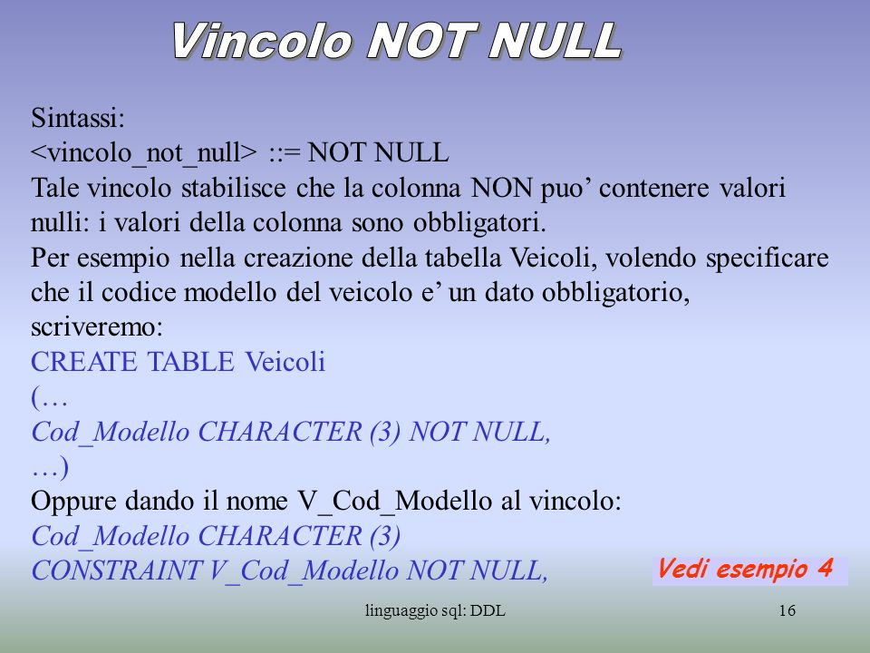 Vincolo NOT NULL Sintassi: <vincolo_not_null> ::= NOT NULL