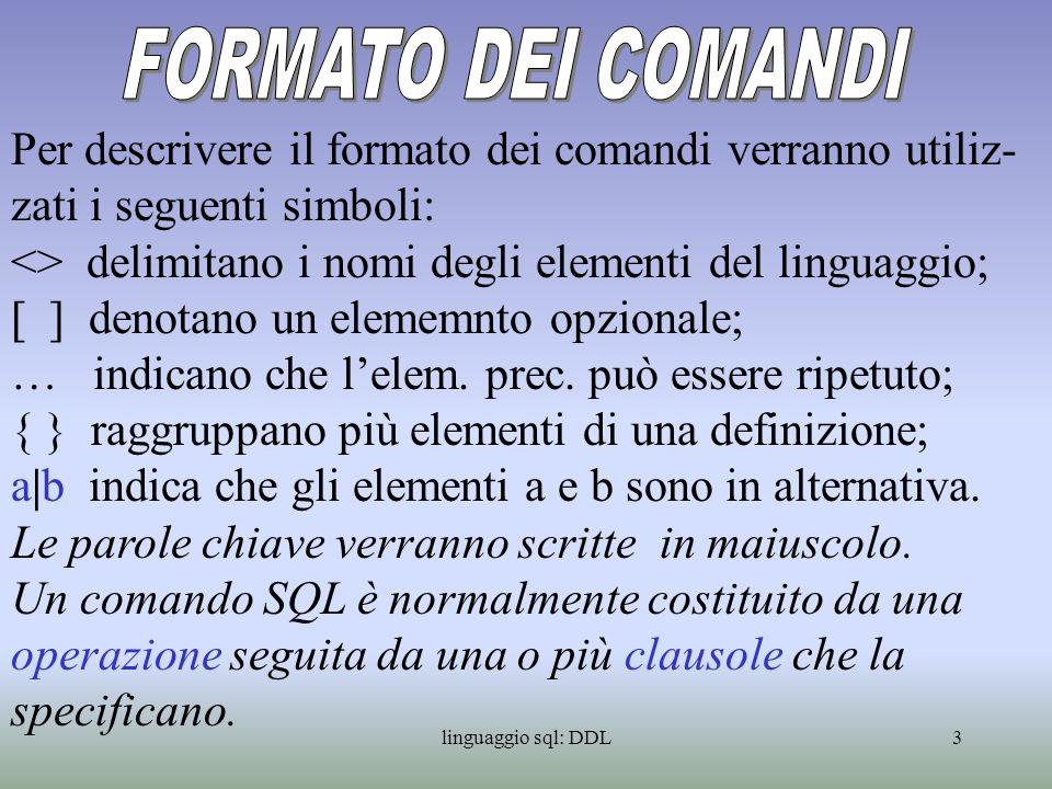 FORMATO DEI COMANDI Per descrivere il formato dei comandi verranno utiliz-zati i seguenti simboli: