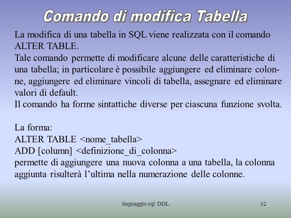 Comando di modifica Tabella