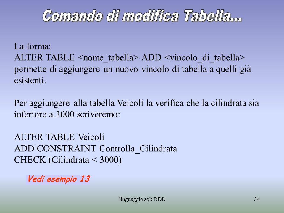 Comando di modifica Tabella...