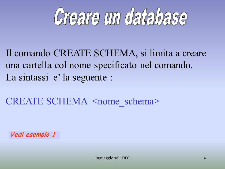 Creare un database Il comando CREATE SCHEMA, si limita a creare una cartella col nome specificato nel comando.