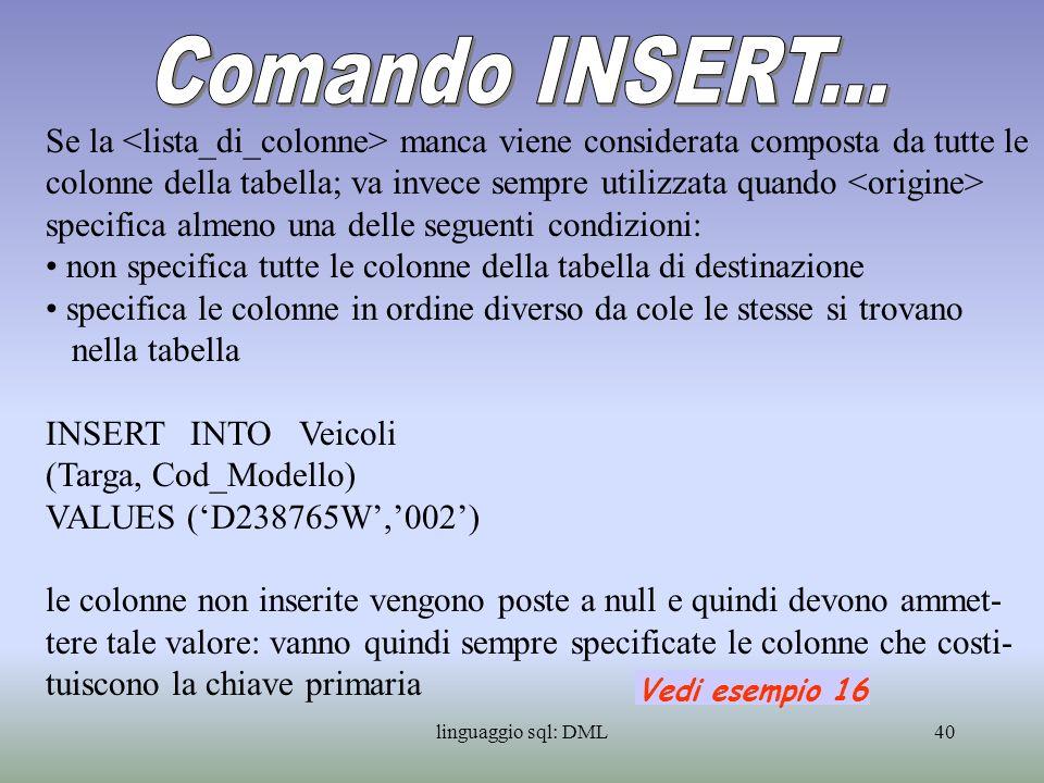 Comando INSERT...