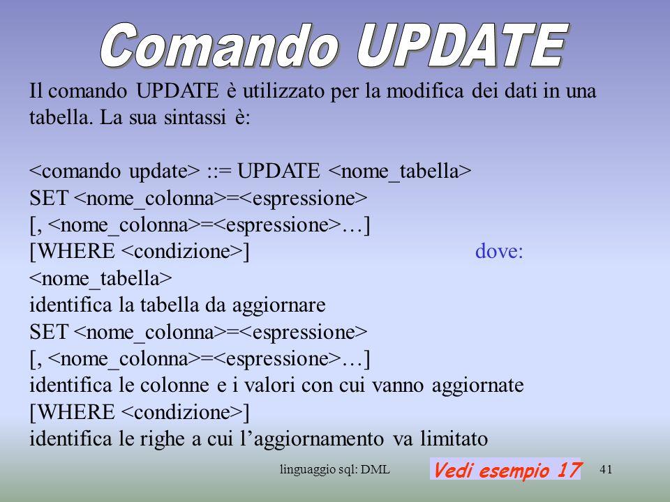 Comando UPDATEIl comando UPDATE è utilizzato per la modifica dei dati in una tabella. La sua sintassi è: