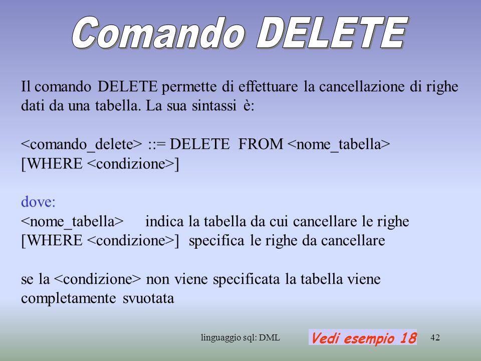 Comando DELETEIl comando DELETE permette di effettuare la cancellazione di righe dati da una tabella. La sua sintassi è: