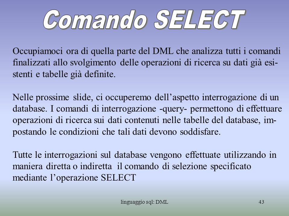 Comando SELECT