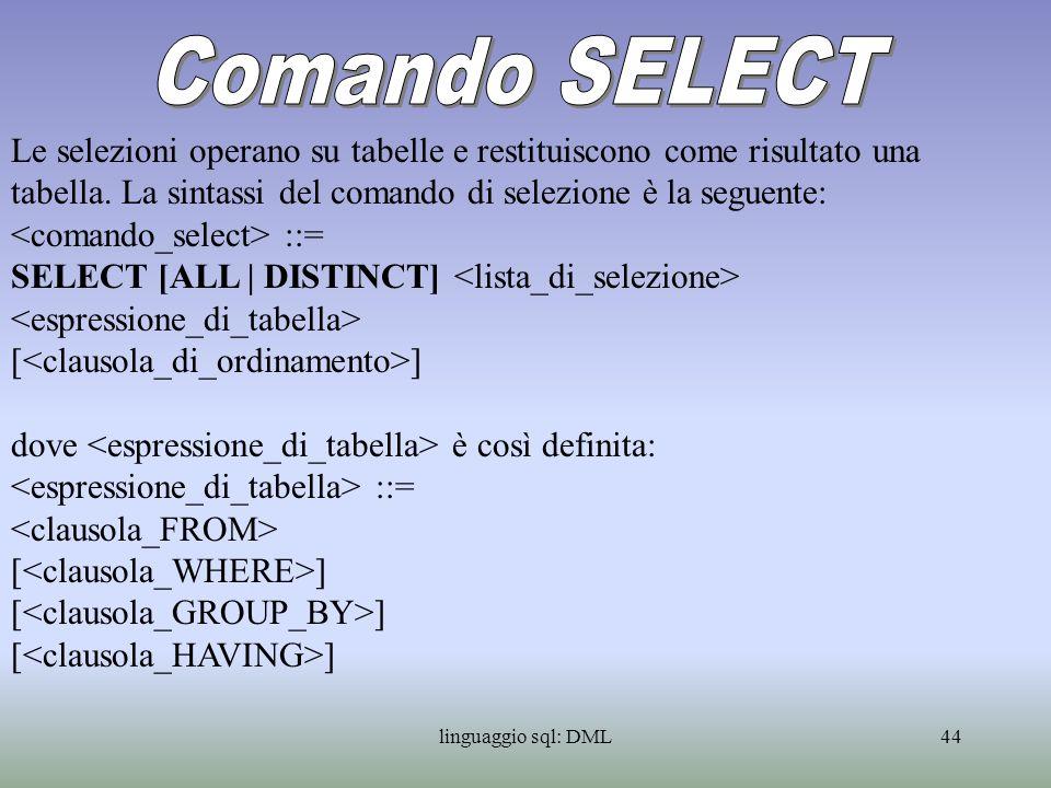 Comando SELECT Le selezioni operano su tabelle e restituiscono come risultato una tabella. La sintassi del comando di selezione è la seguente: