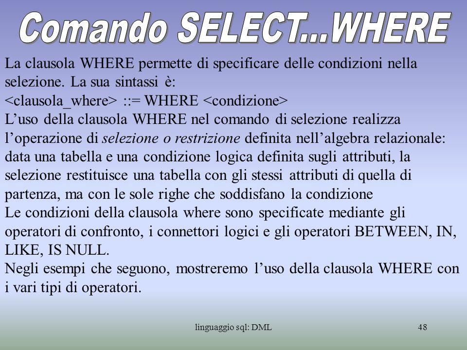 Comando SELECT...WHERE La clausola WHERE permette di specificare delle condizioni nella selezione. La sua sintassi è: