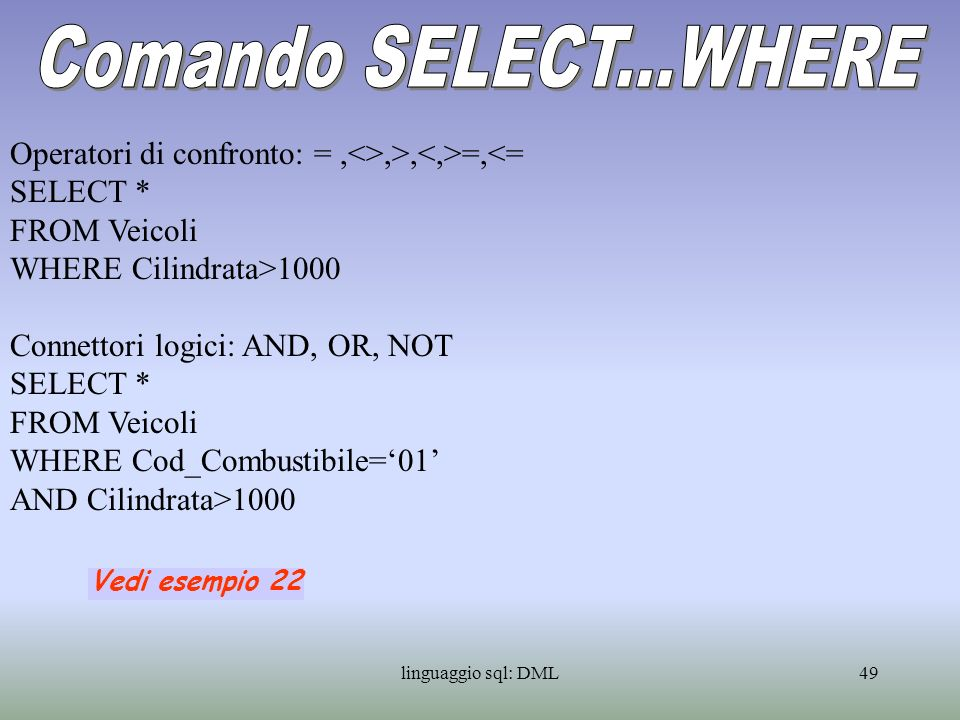 Comando SELECT...WHERE Operatori di confronto: = ,<>,>,<,>=,<= SELECT * FROM Veicoli. WHERE Cilindrata>1000.
