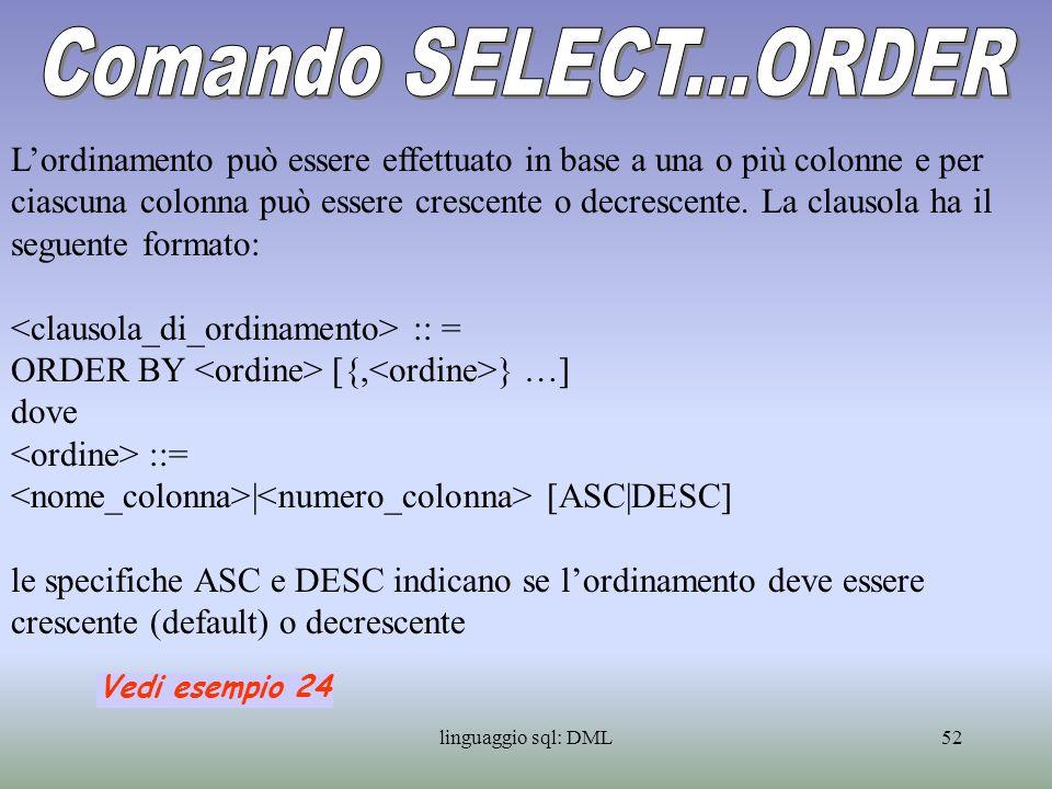 Comando SELECT...ORDER