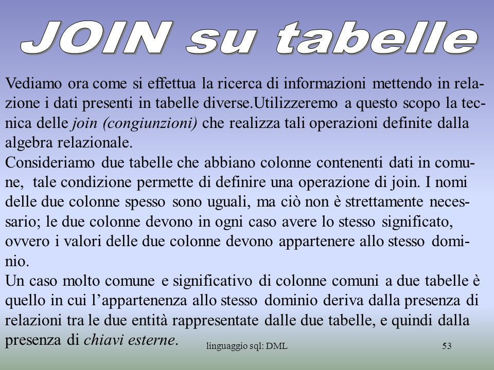 JOIN su tabelle