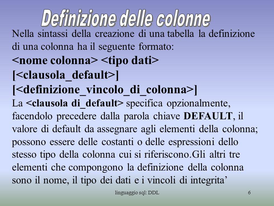 Definizione delle colonne