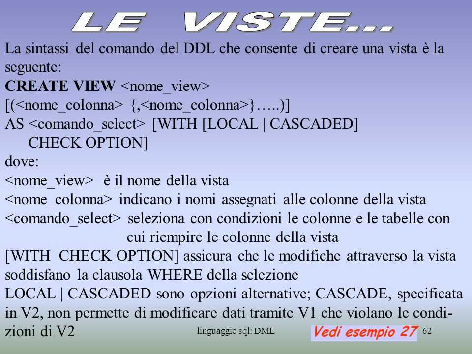 LE VISTE...La sintassi del comando del DDL che consente di creare una vista è la seguente: CREATE VIEW <nome_view>