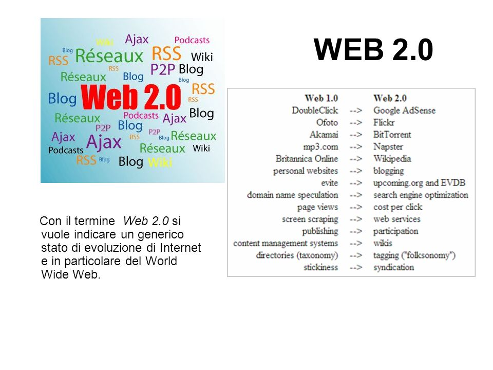 WEB 2.0 Con il termine Web 2.0 si vuole indicare un generico stato di evoluzione di Internet e in particolare del World Wide Web.