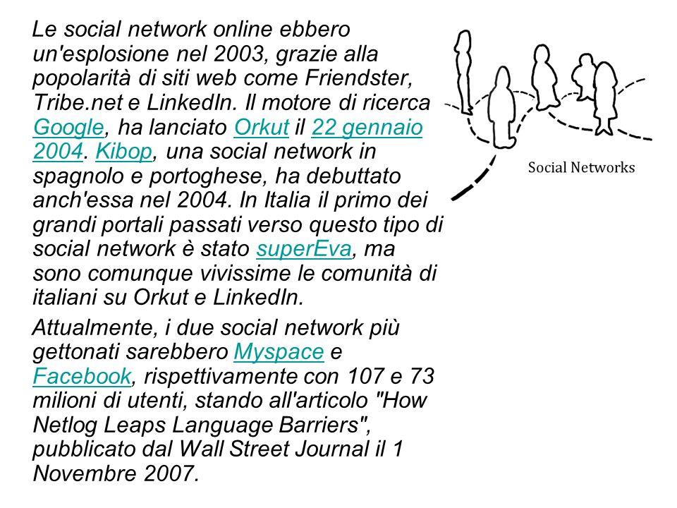 Le social network online ebbero un esplosione nel 2003, grazie alla popolarità di siti web come Friendster, Tribe.net e LinkedIn. Il motore di ricerca Google, ha lanciato Orkut il 22 gennaio 2004. Kibop, una social network in spagnolo e portoghese, ha debuttato anch essa nel 2004. In Italia il primo dei grandi portali passati verso questo tipo di social network è stato superEva, ma sono comunque vivissime le comunità di italiani su Orkut e LinkedIn.