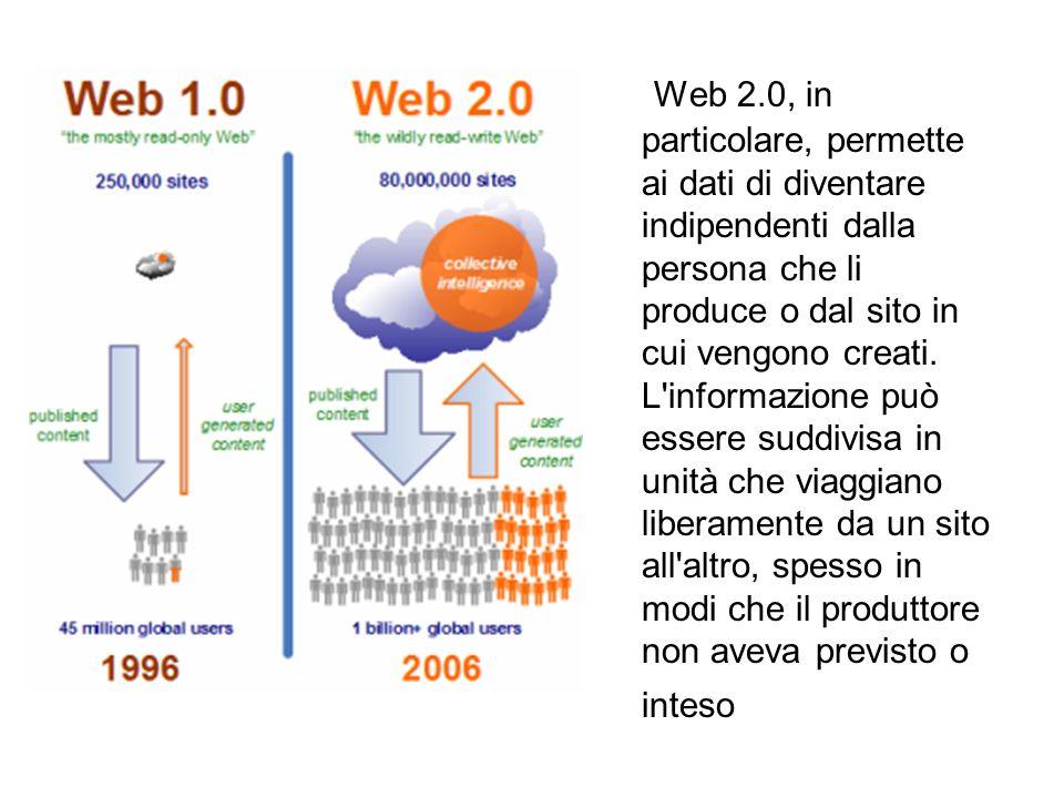 Web 2.0, in particolare, permette ai dati di diventare indipendenti dalla persona che li produce o dal sito in cui vengono creati.