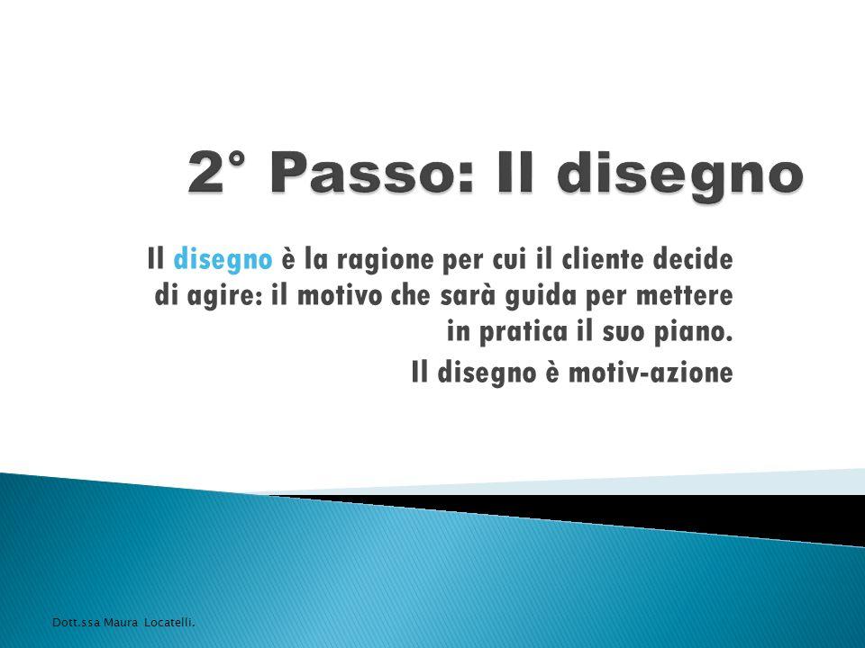 2° Passo: Il disegno Il disegno è la ragione per cui il cliente decide di agire: il motivo che sarà guida per mettere in pratica il suo piano.