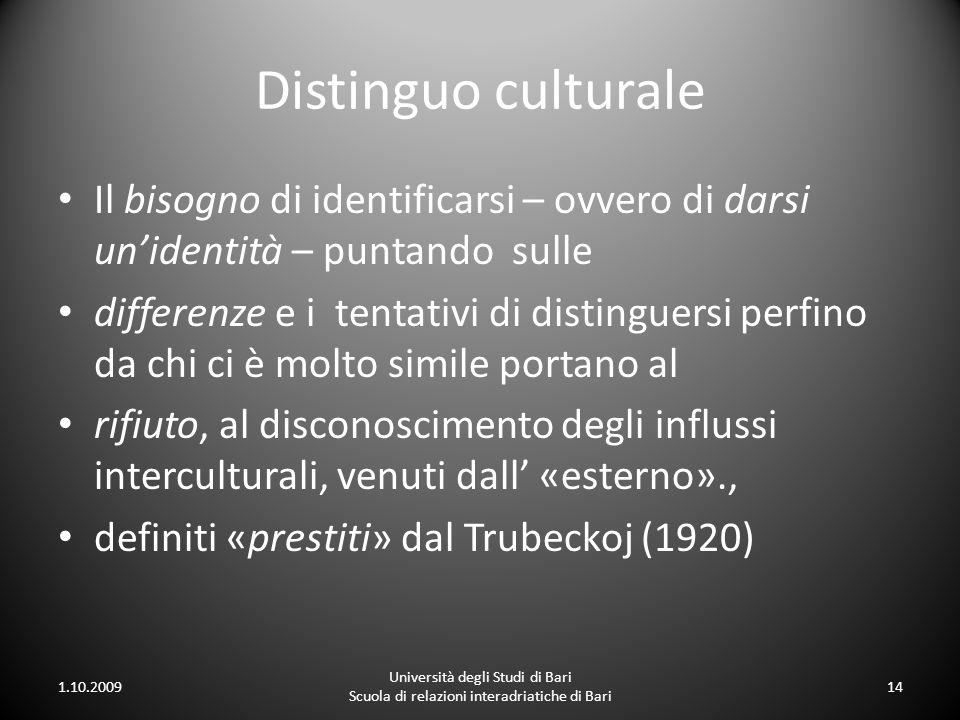 Distinguo culturale Il bisogno di identificarsi – ovvero di darsi un'identità – puntando sulle.