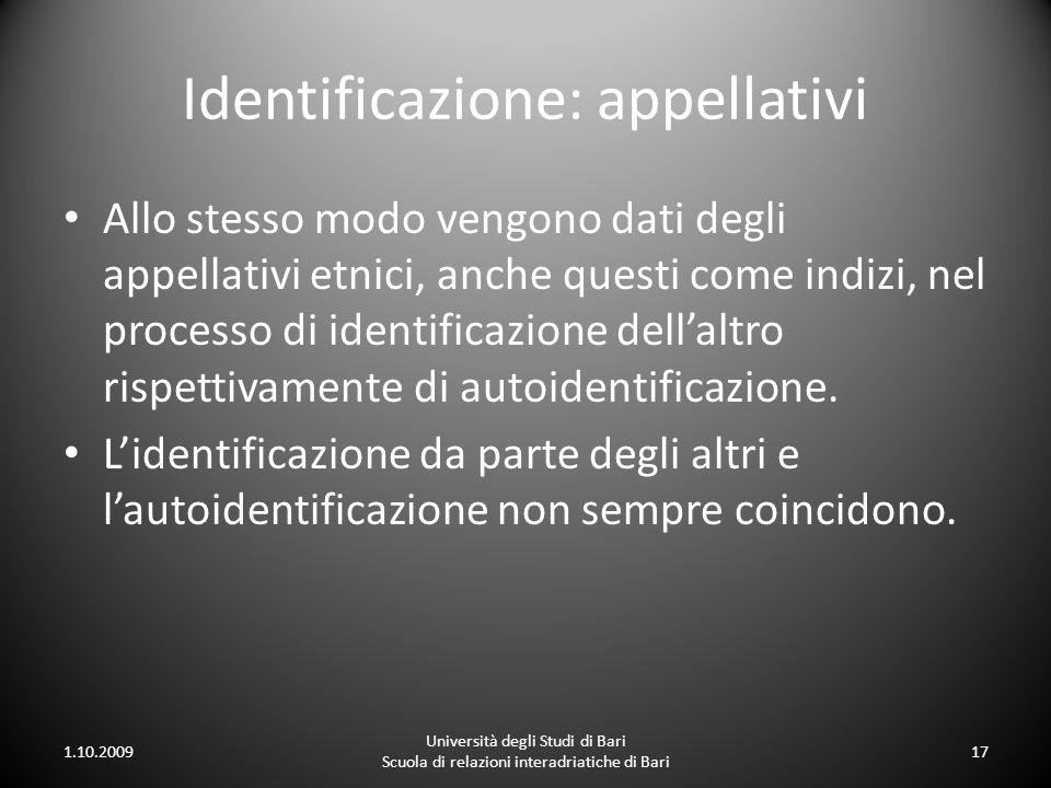 Identificazione: appellativi