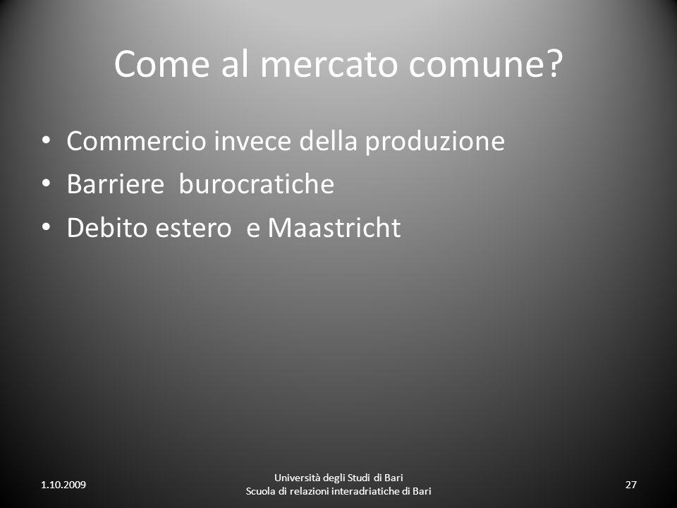 Come al mercato comune Commercio invece della produzione