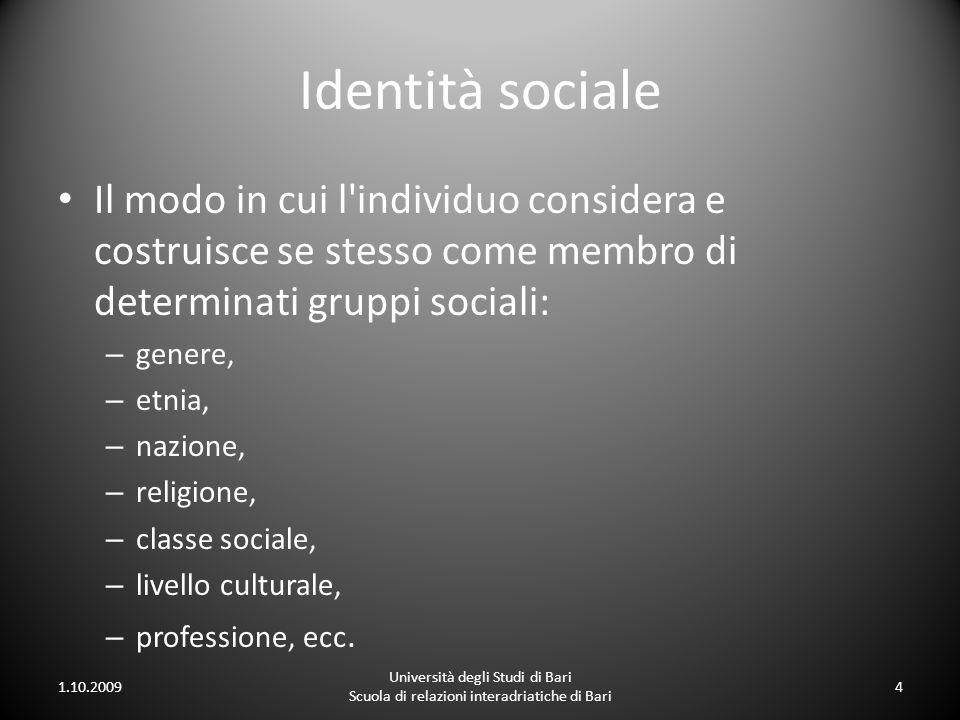 Identità sociale Il modo in cui l individuo considera e costruisce se stesso come membro di determinati gruppi sociali: