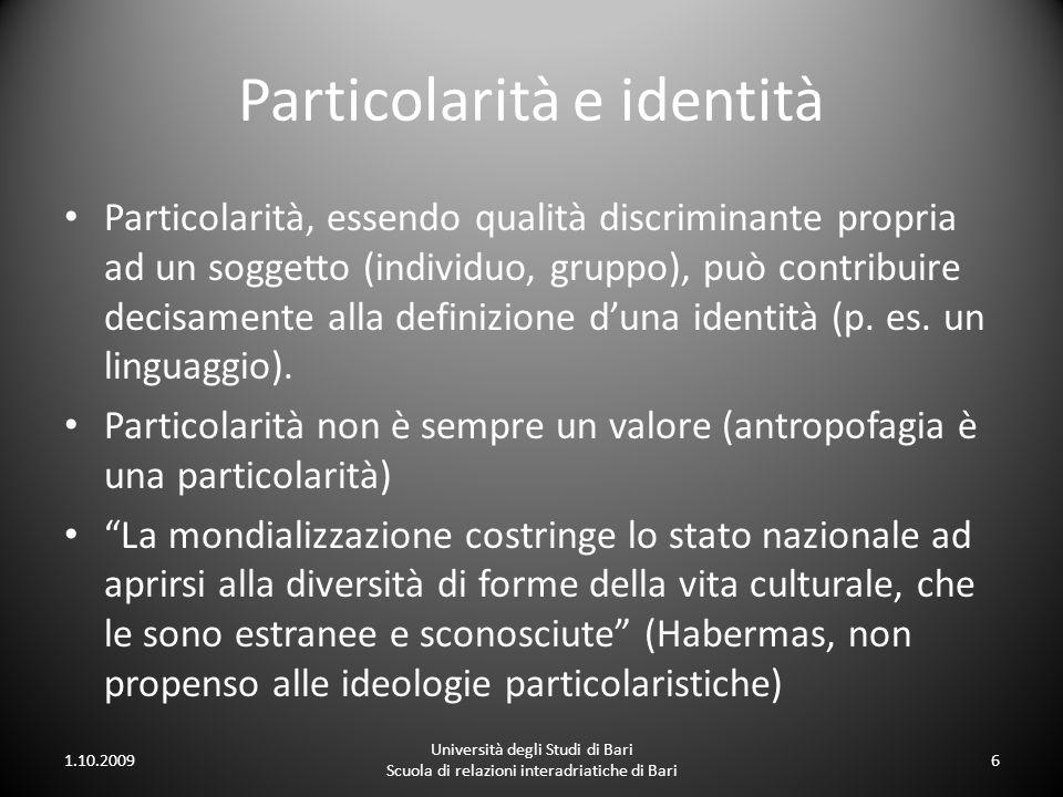 Particolarità e identità