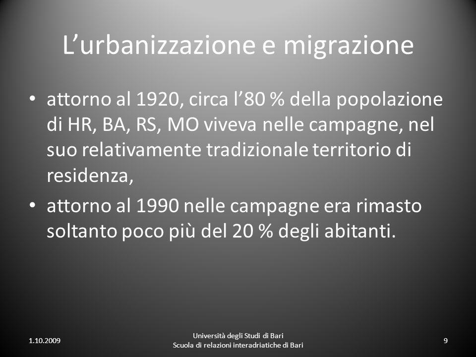 L'urbanizzazione e migrazione