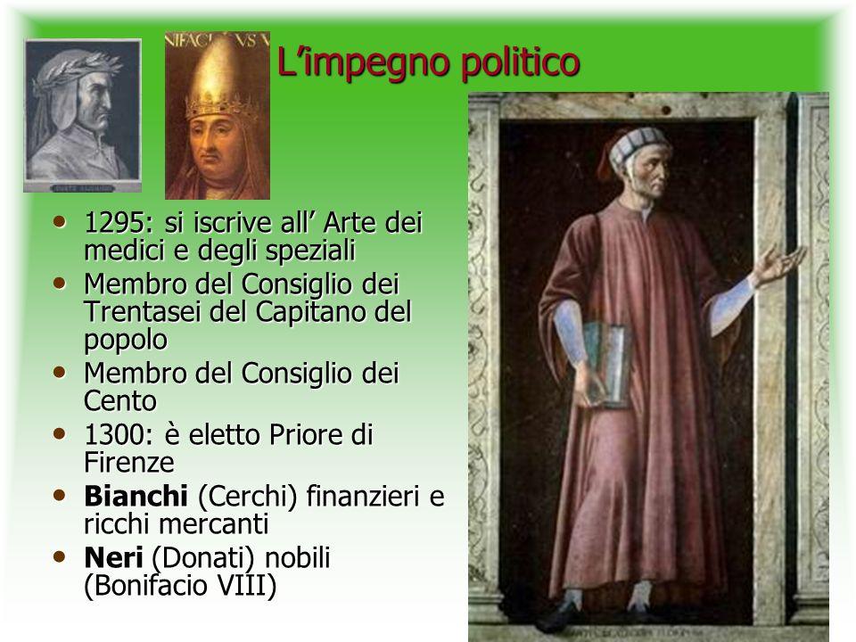 L'impegno politico 1295: si iscrive all' Arte dei medici e degli speziali. Membro del Consiglio dei Trentasei del Capitano del popolo.