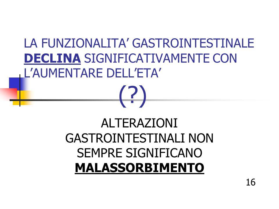 ALTERAZIONI GASTROINTESTINALI NON SEMPRE SIGNIFICANO MALASSORBIMENTO